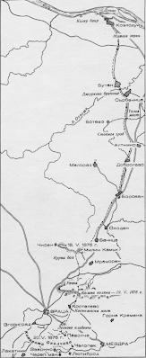 Скица на пътя на Ботевата чета от Козлодуй до Врачанския Балкан